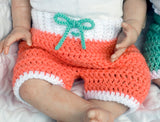 Baby Girl Boy Crochet Shorts Headband Aqua Orange Nautical