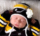 Baby Girl Bruins Penguins Hockey Hat Newborn Photography