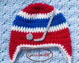 Crochet Red Blue White Baby Boy Hockey Hat