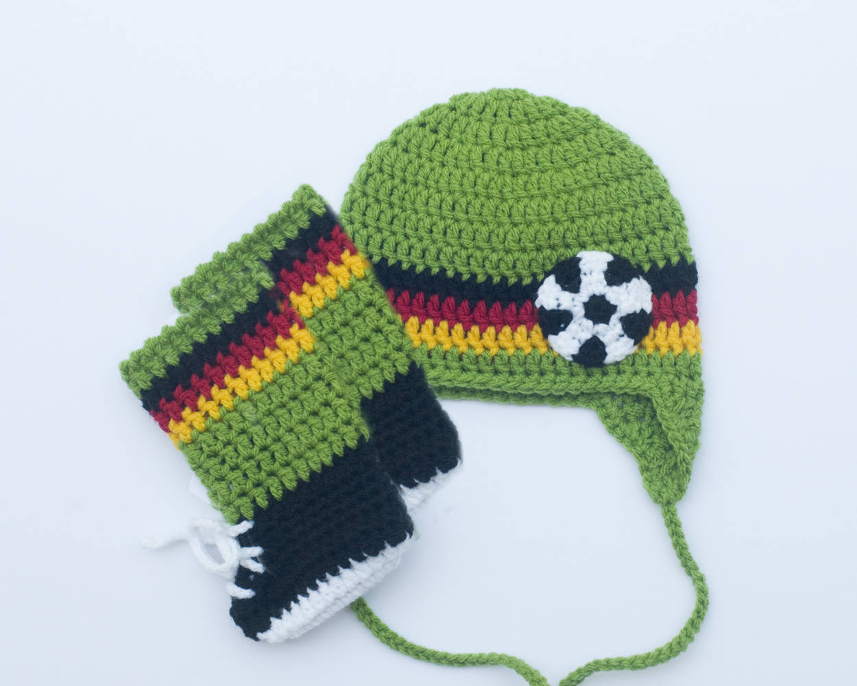 Soccer Baby Boy Crochet Hat Shoes With Socks Germany Flag