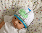 Crochet Baby Boy Golf Beanie White Green Blue Gray