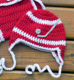 Baby Boy Crochet Hockey Hat Diaper Cover & Skates Outfit Red Wings