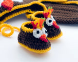 Crochet Baby Thanksgiving Turkey Booties