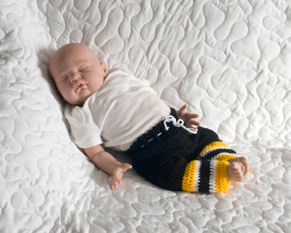 Crocheted Bruins or Penguins Hockey Pants Socks Photo Prop
