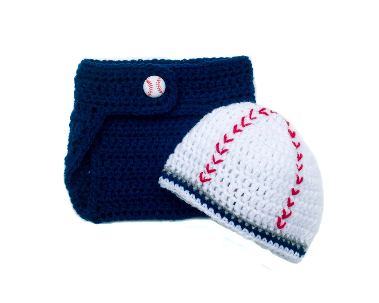 49773c3a3 Yankees Baseball Baby Boy Crochet Beanie Hat & Diaper Cover ...