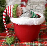 Baby Striped Red Green White Stocking Elf Hat