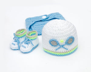 Baby Boy Tennis Crochet Hat Diaper Cover and Shoes