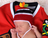 Hockey Hat with Feathers Red Black Photography Prop