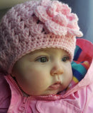 Baby Girl Crochet Pink Hat with Flower