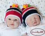 Twins hockey boys hats red black newborn photo props