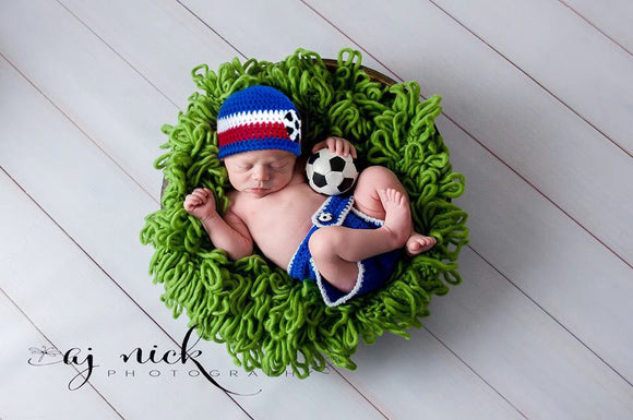 Baby Soccer Outfit France World Cup Crochet Hat & Diaper Cover