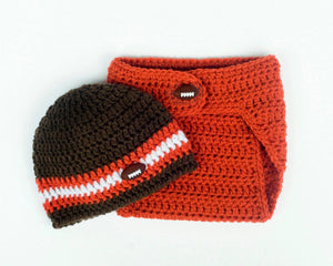 Browns Football Crochet Hat Diaper Cover