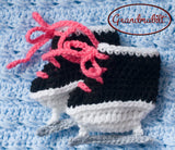 Baby Girls Hot Pink Hockey Skates Crochet