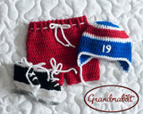 Crochet Hockey Baby Outfit Knit Newborn Photography Props