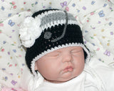 Crochet Baby Girl Hockey Hat Black Gray