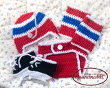 Baby Boy Red Blue Hockey Hat Diaper Cover Socks & Skates