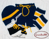 Baby Boy Crocheted Sabres Hockey Helmet Pants Socks Skates