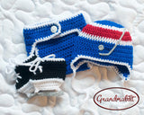 Blue Red Hockey Baby Boy Hat Diaper Cover Skates Outfit
