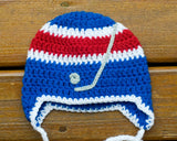 Crochet Baby Boy Blue Red Rangers Hockey Hat Photo Prop
