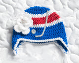 Baby Girl Hockey Crochet Rangers Blue Red Hat