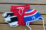 Crochet Hockey Baby Outfit Newborn Photography Red Blue