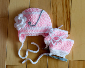 Baby Girl Hockey Crochet Pink Hat and Skates