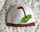 Baby Golf Striped Beanie Hat Red Green White Newborn