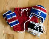 Red White Royal Blue Hockey Hat Pants Socks Skates Outfit