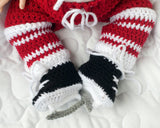 Red White Hockey Crocheted Pants Socks Skates Outfit