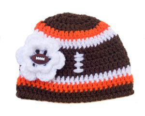 Baby Girl Football Hat Brown Orange and White with Flower Button