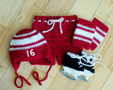 Red White Hockey Hat Pants Socks Skates Outfit Crochet