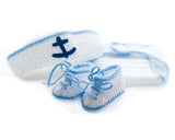 Baby Sailor Suit Hat Diaper Shoes Blue White