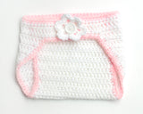 Baby White Pink Crochet Diaper Cover
