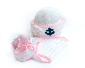 Baby Sailor Suit Hat Diaper Shoes Pink White