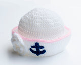 Baby Sailor Hat Girl Pink White Crochet