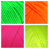 neon green orange pink yellow sample color chart