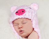 Baby Girl Crochet Pink Fuzzy Pig Hat Photography Prop