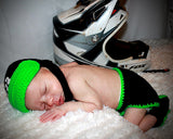baby boy crochet motocross racing black neon green outfit