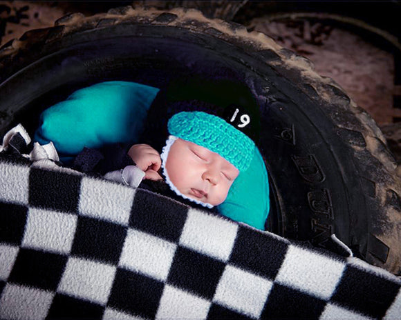 Baby Boy Racing Helmet Crochet Black Turquoise Newborn Photography
