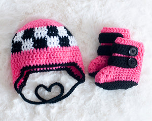 Baby Girl Motocross Racing Boots Pink and Black Crochet Checkered Flag