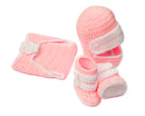 Baby Pink Crochet Girls Racing Motocross Boots Outfit
