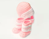Baby Girl Motocross Racing Helmet Boots Pink and White Crochet