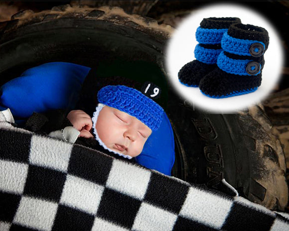 Crochet Baby Motocross Racing Helmet Boots Black Blue Newborn Photography