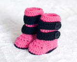 Baby Girl Motocross Racing Boots Pink and Black Crochet