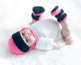 Baby Girl Motocross Racing Helmet Boots Pink and Black Crochet
