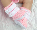 Baby Girl Motocross Racing Boots Pink and White Crochet