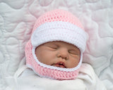 Baby Girl Motocross Racing Helmet Pink and White Crochet