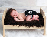 Baby Soccer Diaper Cover Black White Newborn Photography