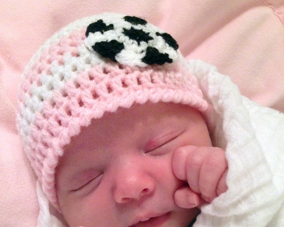 Baby Girl Crocheted Pink White Soccer Hat Newborn Photo Prop