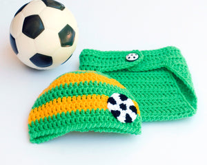 Baby Crochet Brazil World Soccer Green and Gold
